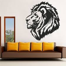 wall sticker animal style black lion head decal sticker mural art features high quality brand new100 material nontoxic pvc which is removable without residue remaining on the surface non toxic environmental protection