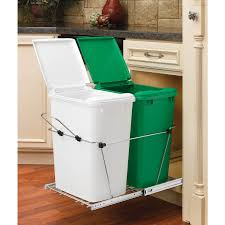 kitchen cabinet garbage can shop rev a shelf 35 quart plastic pull out trash can at lowes com