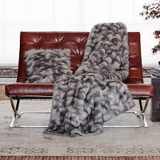 fur throws for sofas faux fur throw gray fox williams sonoma