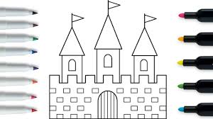 how to draw a castle coloring pages kids songs learn drawing