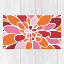Modern Floral Area Rugs Modern Flower Area Rug Abstract Flower Rug Orange Pink And By