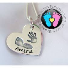 fine name necklace images Fine silver hand print footprint with name necklace jpg
