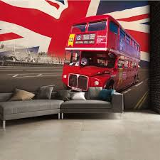 British Flag With Red Flag Red London Bus Wall Mural 315cm X 232cm