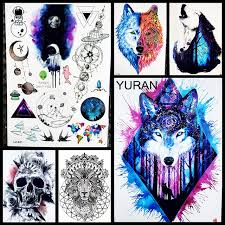 style dreamcatcher wolf temporary stickers for