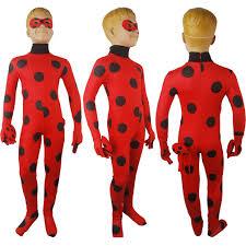 Catsuit Halloween Costumes Kids Girls Miraculous Ladybug Zentai Spandex Catsuit Bodysuit