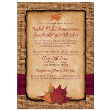 fall ribbon fall in photo wedding invite faux burlap printed wine