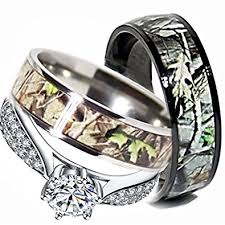 his and camo wedding rings mens womens camo engagement wedding rings set silver