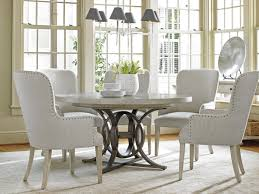 dining room sets with fabric chairs oyster bay calerton round dining table lexington home brands