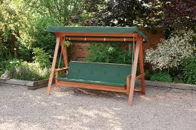 quality wooden swing bed 3 seater garden swing seat with cushions