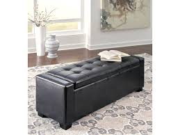 ashley signature design benches upholstered storage bench in black