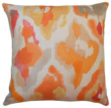 Pink Decorative Pillows Abstract Watercolor Decorative Pillow Cover Orange And Coral