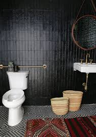 black tile bathroom ideas best 25 black tile bathrooms ideas on black subway