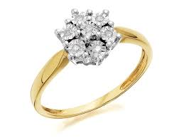 9ct gold diamond flower cluster ring 5pts d6034 f hinds