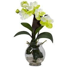 Artificial Flower Arrangement In Vase 15 In H White Mini Vanda With Fluted Vase Silk Flower Arrangement