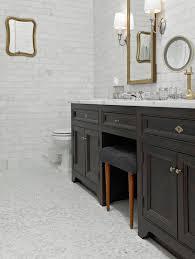 Polished Nickel Vanity Mirror Mosaic Marble Floor Transitional Bathroom Rusk Renovations
