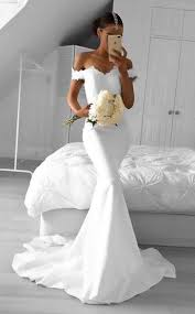 white dresses for wedding mermaid shoulder white lace prom dress wedding