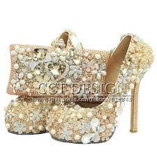 luxury handmade women shoes champagne rhinestones wedding shoes