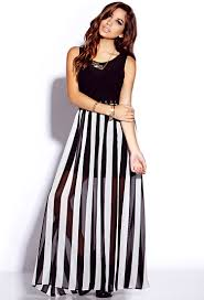 forever 21 striking striped maxi dress in white lyst