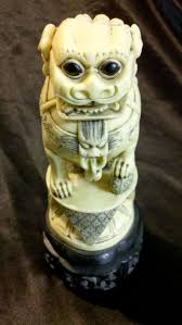 asian lion ring holder images Rare antique resin ivory color chinese foo dog statue carved asian jpg