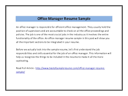 Office Manager Sample Resume Office Manager Resume Sample Pdf