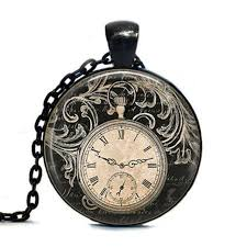 vintage necklace watch pendant images Steampunk vintage clock necklace round clock pocket watch pendant jpg