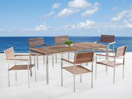 modern outdoor dining table modern outdoor dining set for 6 teak u0026 stainless steel viareggio