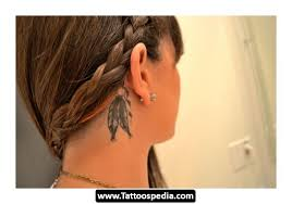 native feather tattoo designs for men on behind ear real photo