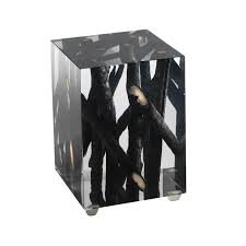 burnt branches in acrylic side table michael dawkins home