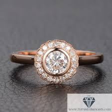 bezel set engagement rings bezel set moissanite diamond halo engagement ring