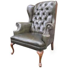 Leather Wing Back Chairs Queen Anne Tufted Leather Wingback Chair At 1stdibs