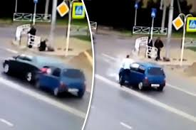 funny cctv video reveals six men in tiny car after crash daily star