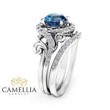 topaz engagement ring london blue topaz engagement ring set unique 14k white gold topaz