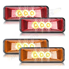 led side marker lights partsam 2amber 2red truck trailer 12v led front rear led marker