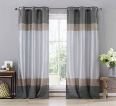Silver Window Curtains Two 2 Silver Gray And Taupe Window Curtain Panels Faux Silk