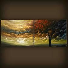 art painting abstract heavy texture metallic gold thick paint landscape tree painting 56 x 22 mattsart