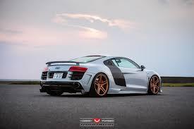 Audi R8 Gold - hamana audi r8 v10 on gold vossen wheels rear side view