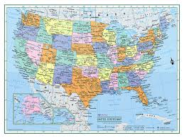 Large World Map Poster American Map Colorprint United States County Town Color Wall Map