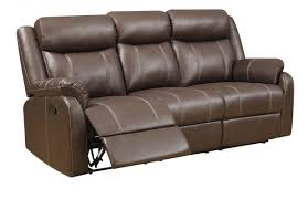 Klaussner Fabrics Domino Reclining Sofa W Table In Valor Chocolate