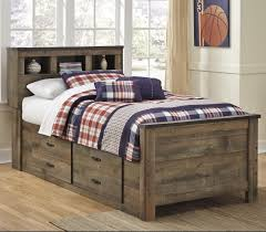 Full Storage Beds Signature Design By Ashley Trinell Rustic Look Twin Bookcase Bed