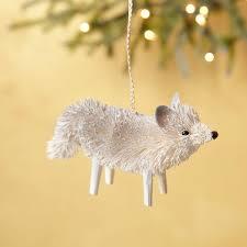 arctic fox bottle brush ornament west elm holidays