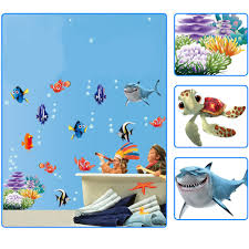 sticker cute picture more detailed picture about newest funny newest funny sea animal ocean fish shark wall sticker bath room mural kid room decal plane