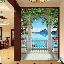 3d flowers birds lane forest tree corridor entrance wall mural 3d pillar balcony palm tree corridor entrance wall mural decals art print wallpaper 052