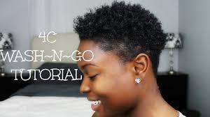 mid length tapered 4c hair 4c wash n go tutorial youtube