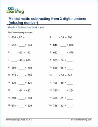 grade 4 subtraction worksheets free u0026 printable k5 learning