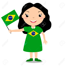 Holding The Flag Smiling Chilld Holding A Brazil Flag Isolated On White