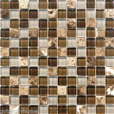 SF Grey Brown Stone Glass Mosaic Tile Kitchen Backsplash Wall - Stone glass mosaic tile backsplash