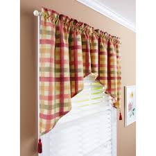 Checkered Kitchen Curtains Better Homes And Gardens Check Valances Walmart