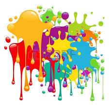 color and paint six colorful paint splash over white background vector royalty