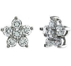cubic zirconia stud earrings emelle flower cz stud earrings cubic zirconia silver beloved