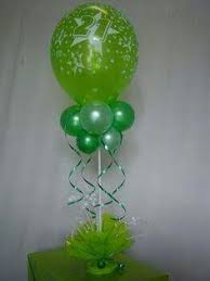 Table Top Balloon Centerpieces by Aqua Blue Lime Green First Birthday Party Birthday Party